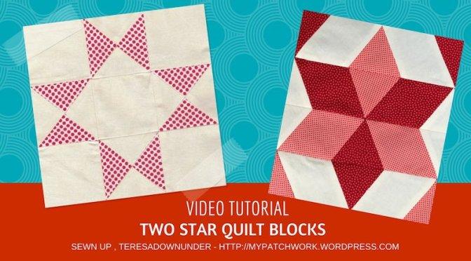 2 star quilt blocks - video tutorial - easy quilting