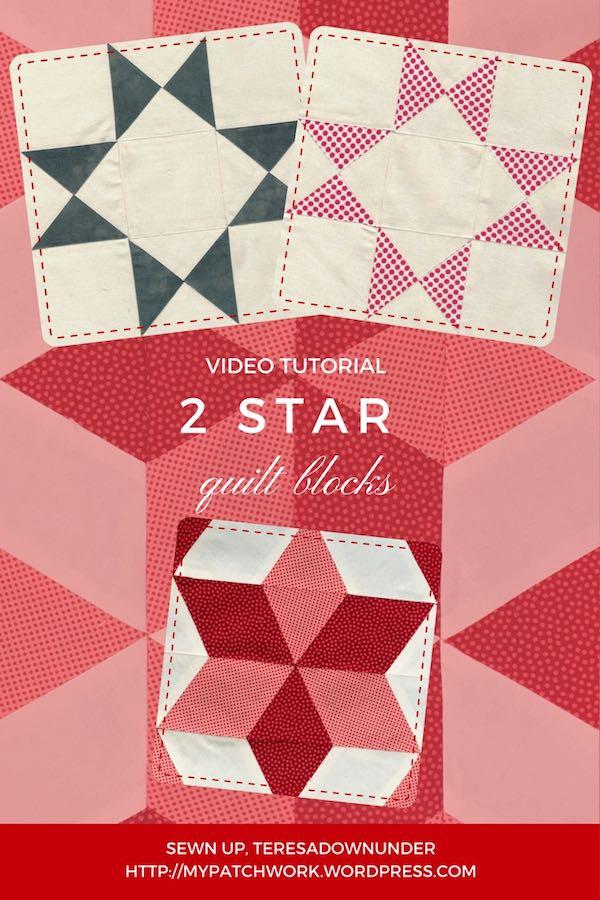 2 star quilt blocks - easy video tutorials