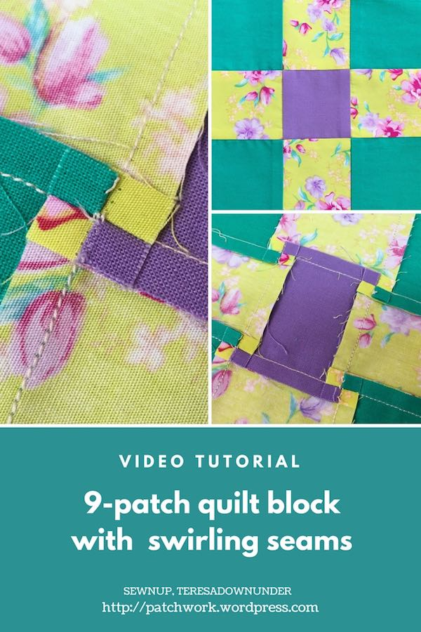 9-patch quilt block with swirling seams video tutorial