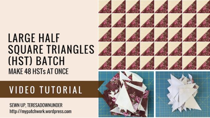 Make a big batch of half square triangles at once - video tutorial