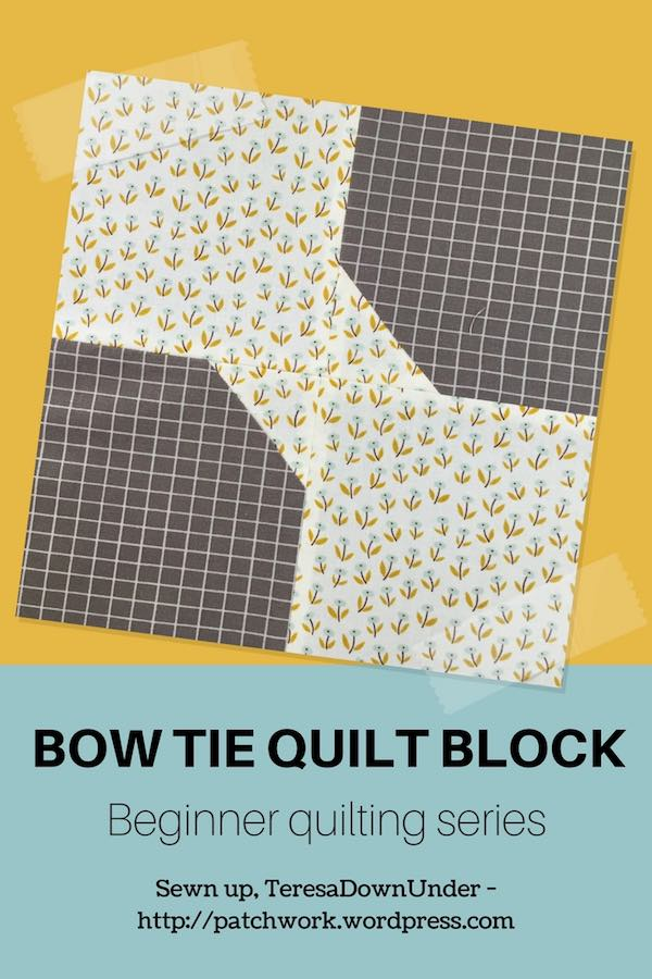 Bow tie quilt block - video tutorial - quick and easy quilt block for beginners