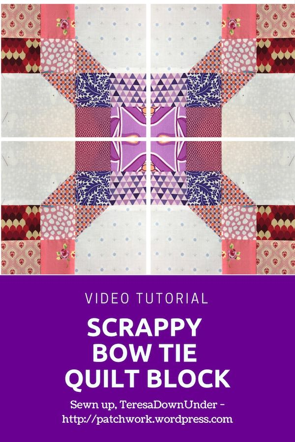Scrappy bow tie quilt block video tutorial