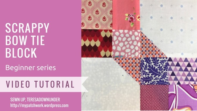 Scrappy bow tie quilt block video tutorial