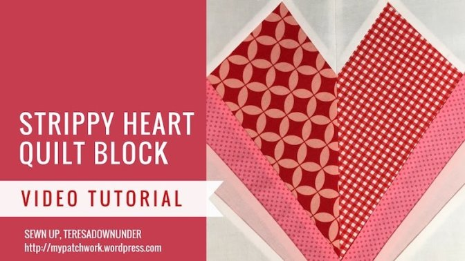 Video tutorial: Strippy heart quilt block