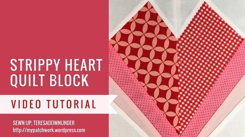 Strippy heart quilt block video tutorial