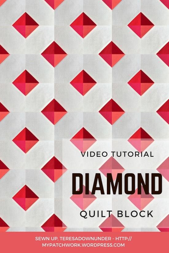 3D diamond quilt block video tutorial