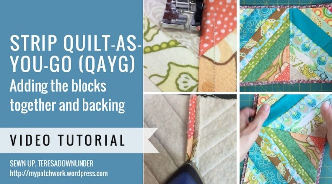 Strip quilt-as-you-go (QAYG) quilt – sewing blocks and adding sashing