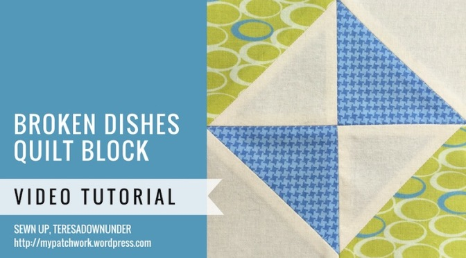 Broken dishes quilt block - Mysteries Down Under quilt - video tutorial