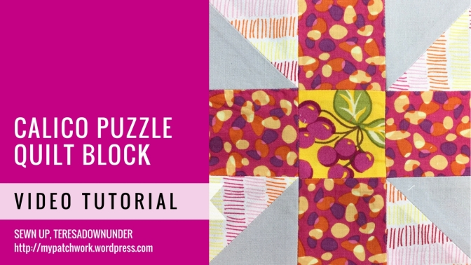 Calico puzzle quilt block - Mysteries Down Under quilt - video tutorial