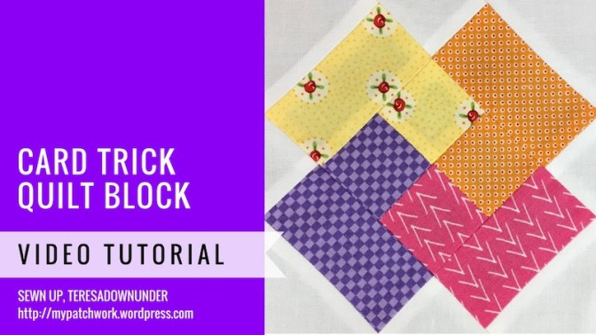 Block 1 – Card trick quilt block – Mysteries Down Under quilt