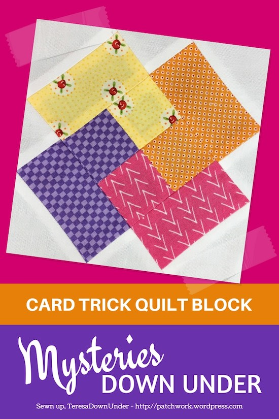 Card trick block video tutorial - Mysteries Down Under Quilt