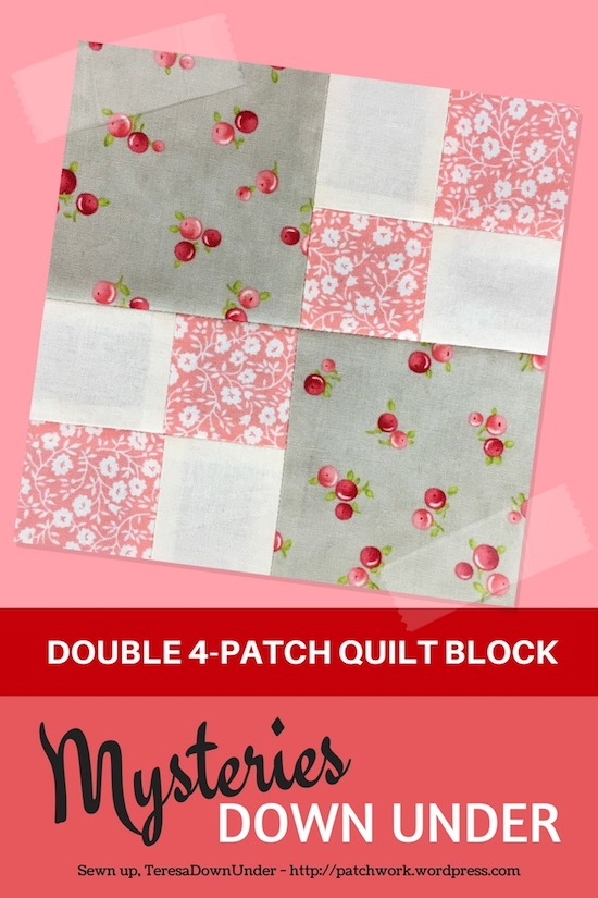 Double 4-patch quilt block - Mysteries Down Under - video tutorial