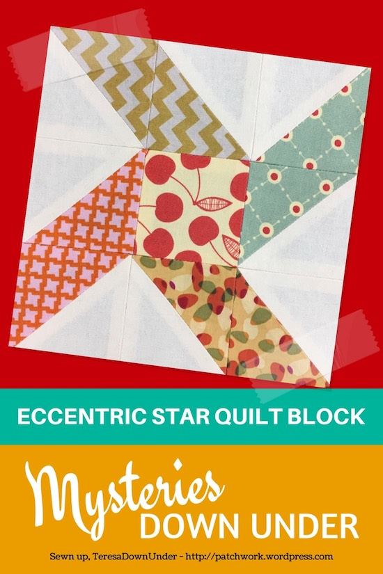 Eccentric star quilt block - Mysteries Down Under quilt - video tutorial