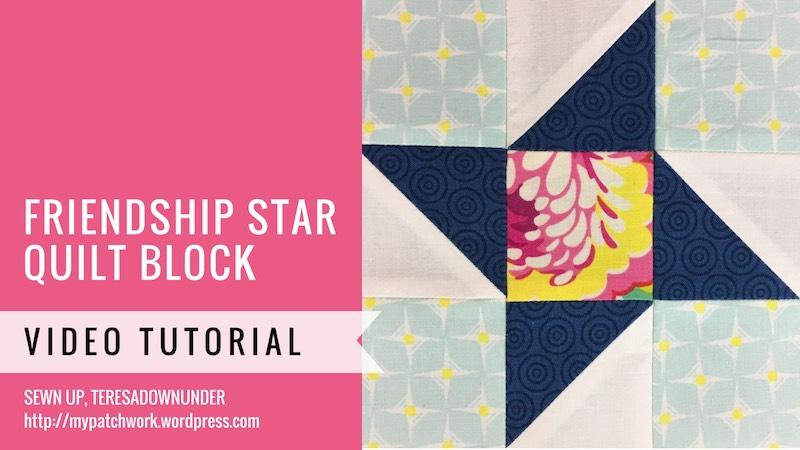 Friendship star quilt block - Mysteries Down Under quilt - video tutorial