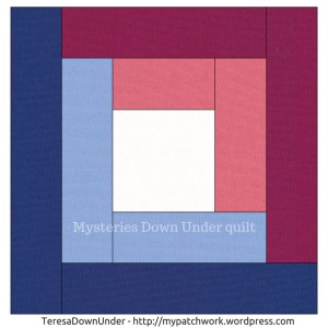 Log cabin quilt block - Mysteries Down Under quilt - video tutorial
