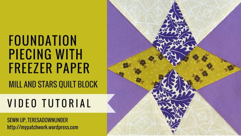 Foundation piecing with freezer paper - Mysteries Down Under - video tutorial