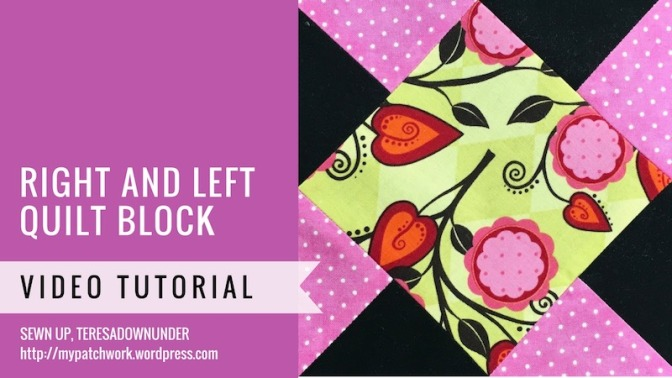 Block 14 - Right and left quilt block - Mysteries Down Under quilt - video tutorial