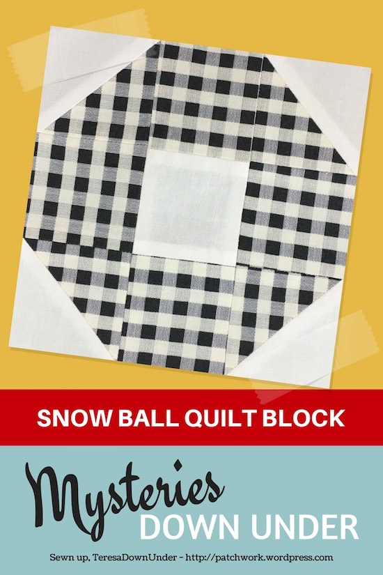 Snowball quilt block - Mysteries Down Under quilt - video tutorial
