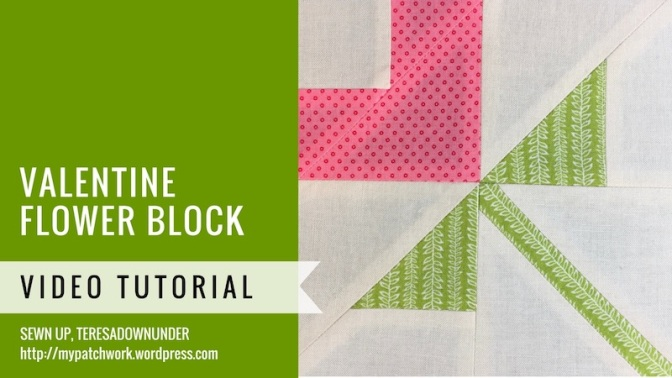 Block 10 – Valentine Flower quilt block – Mysteries Down Under quilt