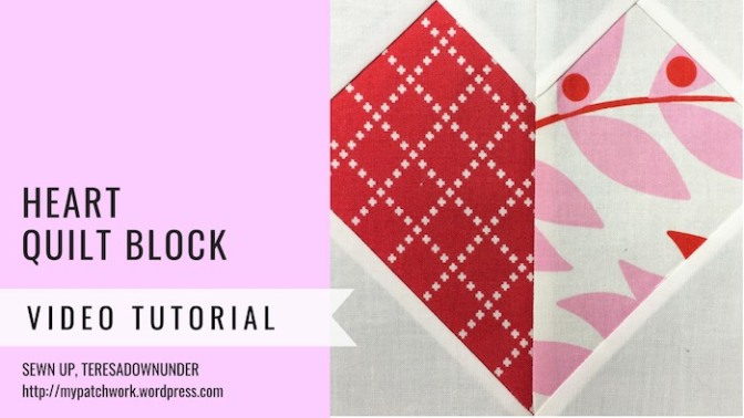 Block 7 – Hearts quilt block – Mysteries Down Under quilt