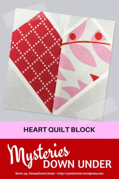 Heart quilt block - Mysteries Down Under quilt