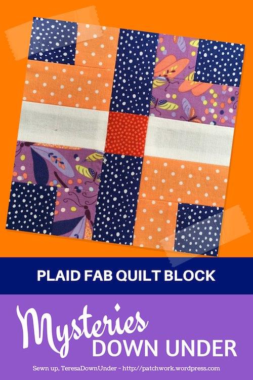 Plaid fab quilt block - Mysteries Down Under quilt