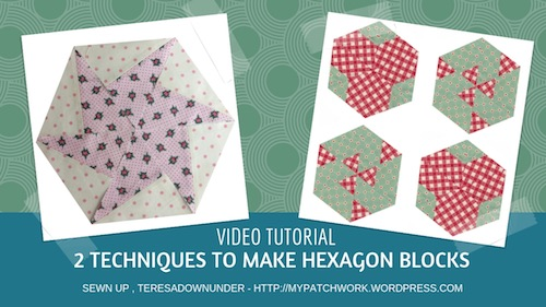 Hexagon blocks with two different techniques video tutorial
