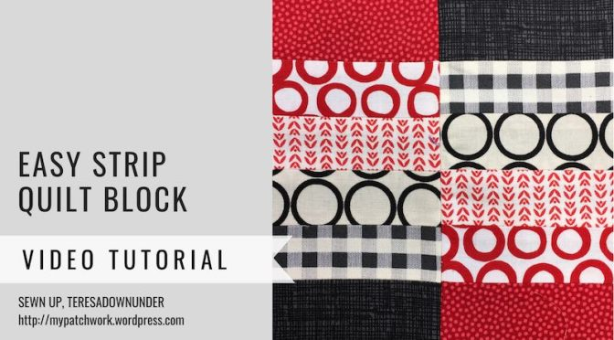 Block 23 – Easy strip quilt block – Mysteries Down Under quilt