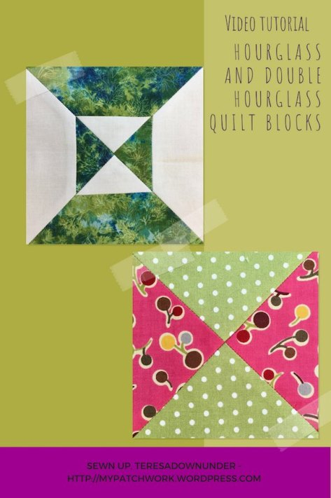 Simple and double hourglass quilt blocks video tutorial