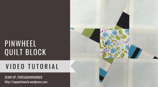 Block 28 – Pinwheel quilt block – Mysteries Down Under quilt
