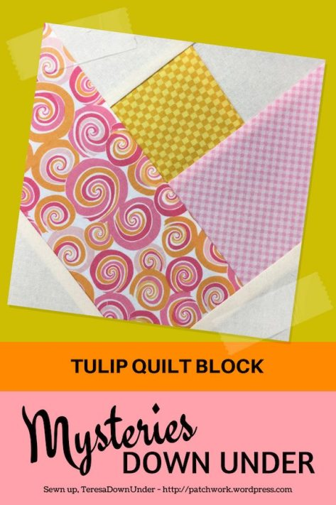 Tulip quilt block - Mysteries Down Under quilt