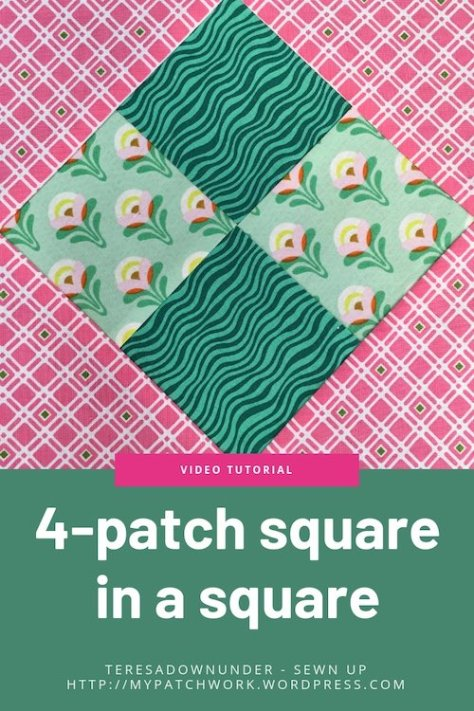 4-patch square in a square quilt block video tutorial