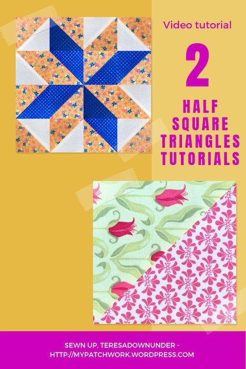 2 half square triangles block tutorial