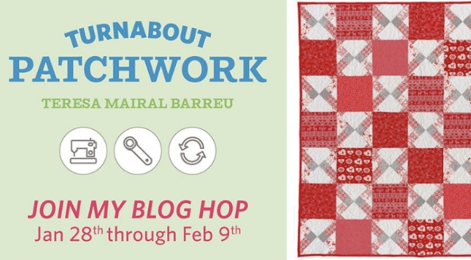 Double disappearing nine patch block, Turnabout patchwork blog hop