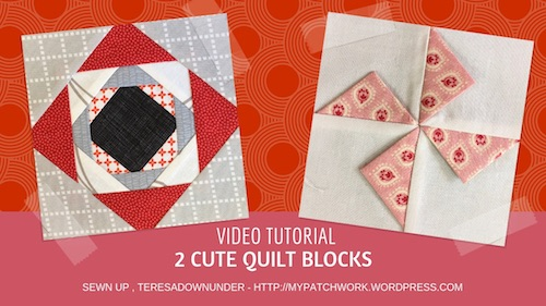 2 cute quilt blocks: prairie points pinwheel and simple pinneapple block