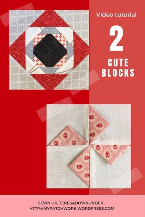 2 cute quilt blocks: prairie points pinwheel and simple pinneapple block