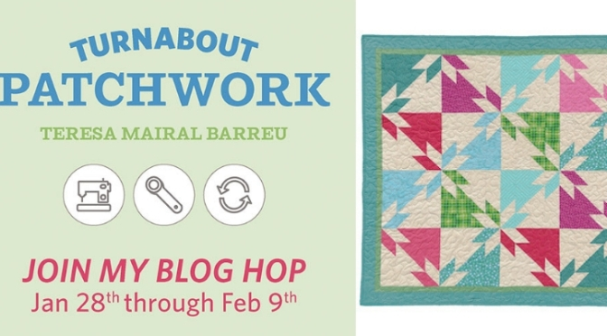 Half square triangles and squares block, Turnabout patchwork blog hop