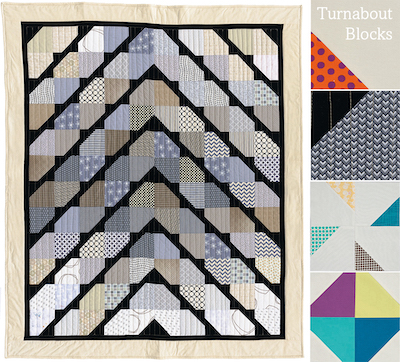 Turnabout patchwork, Quarter Snowball quilt block
