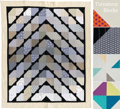 Turnabout patchwork, Quarter Snowball quilt block