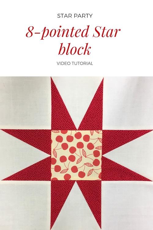8-pointed star quilt block - Video tutorial