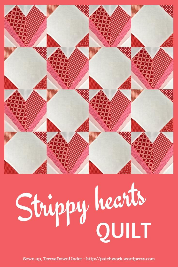 Strippy hearts quilt pattern