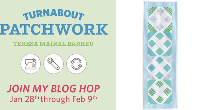 Coordinated strips block, Turnabout patchwork blog hop