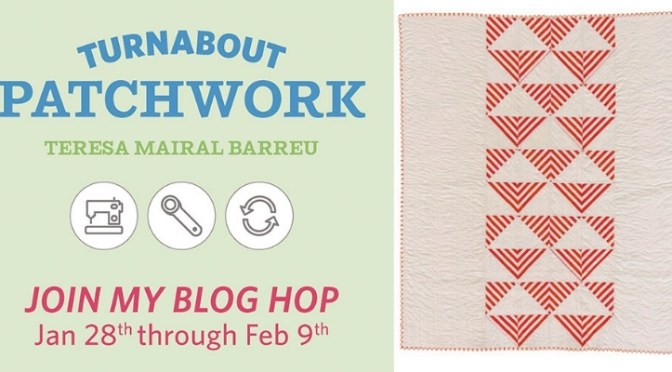 Striped fabric block, Turnabout patchwork blog hop