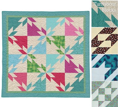 HST and squares quilt block, Turnabout patchwork book