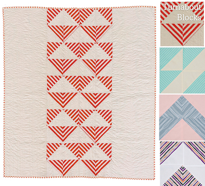 Turnabout patchwork book - striped fabric block
