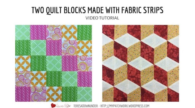 Blocks made with fabric strips