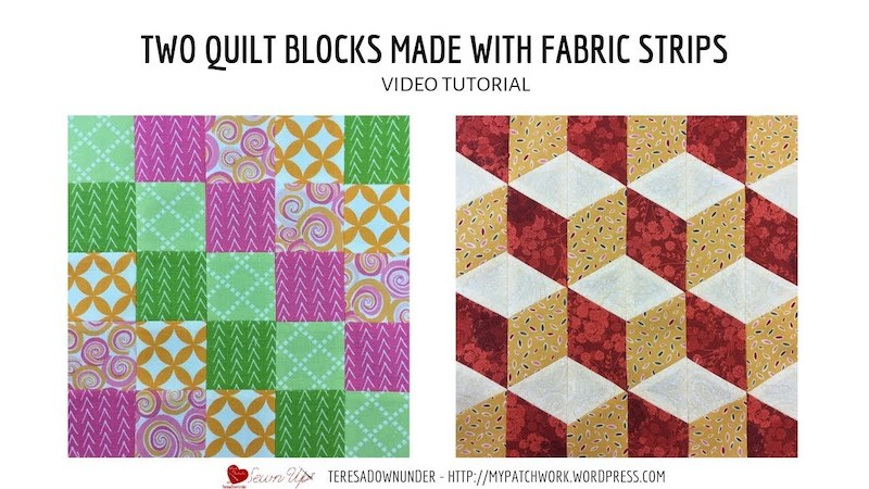 2 quilt blocks made with fabric strips