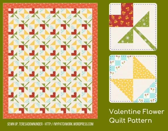 Valentine flower quilt pattern