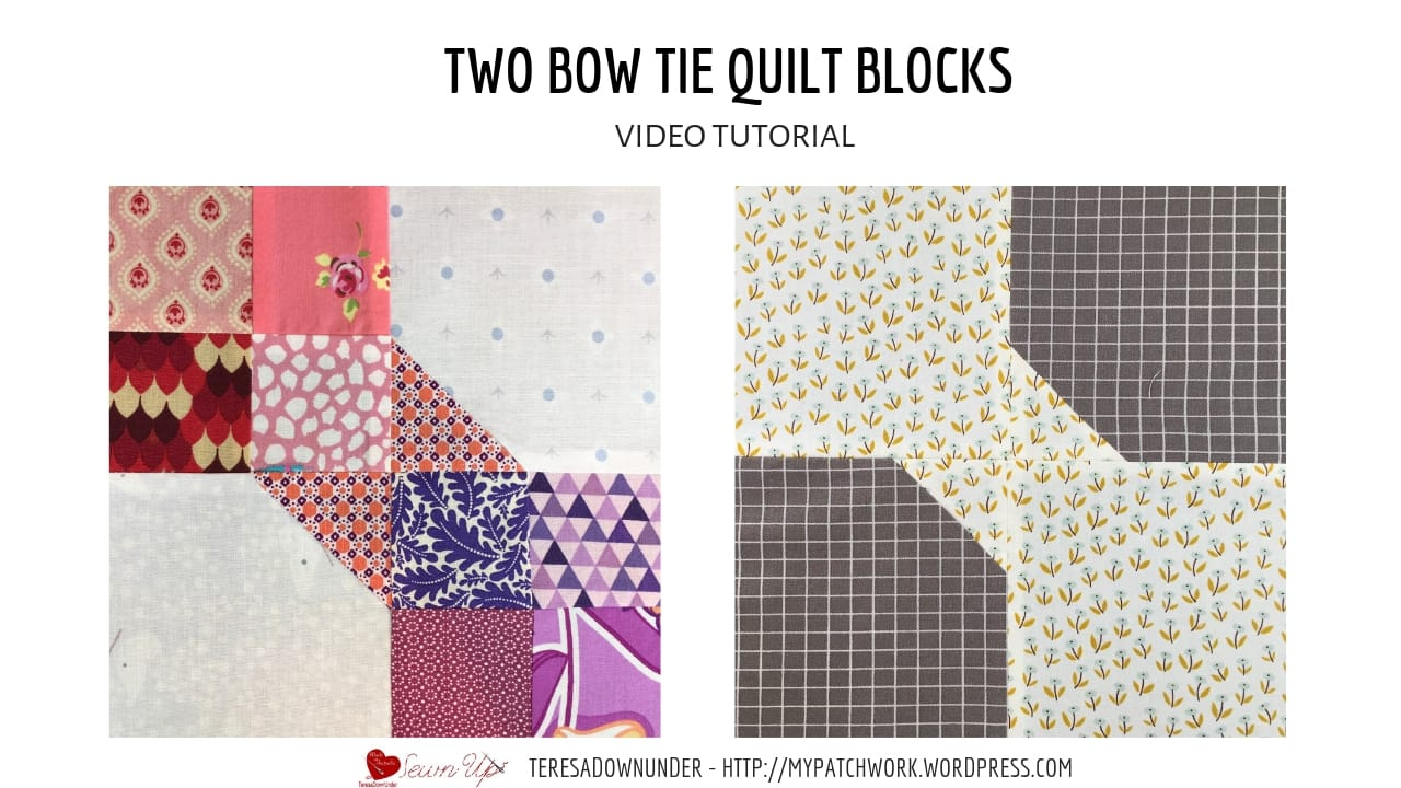 Two bow tie quilt blocks video tutorial