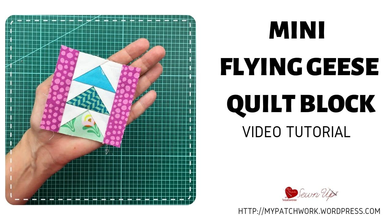 Mini quilt block - flying geese - video tutorial